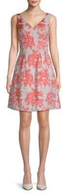 Donna Ricco Brocade V-Neck Fit-&-Flare Dress