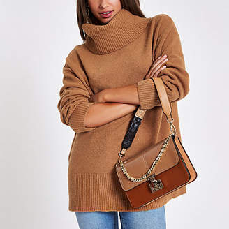 River Island Brown oversized roll neck sweater