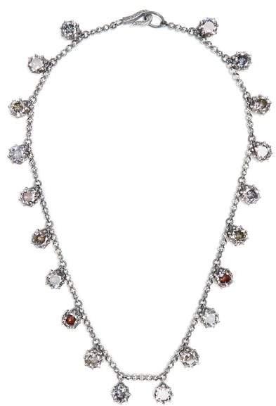 Bottega Veneta Cubic-zirconia and oxidised-silver necklace