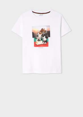 Paul Smith Women's White 'Dog And Bone' Print Cotton T-Shirt