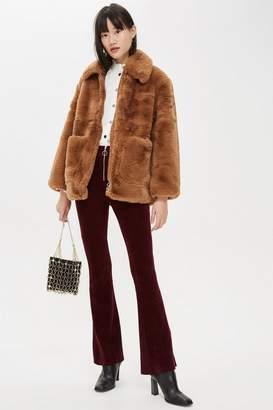 Topshop PETITE Faux Fur Zip Up Jacket