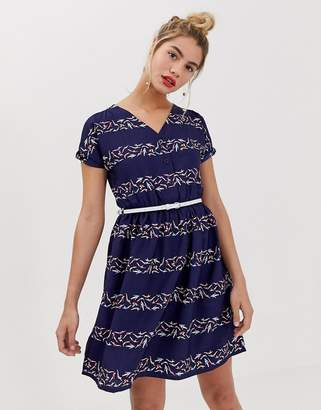 Yumi belted skater dress in graphic stripe print
