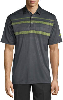 Perry Ellis Callaway Striped-Chest Stretch-Knit Polo Shirt
