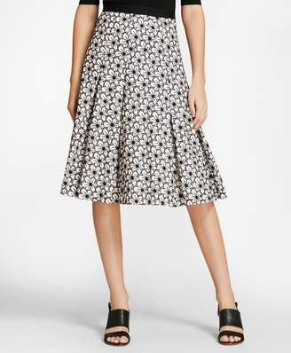 Brooks Brothers Floral Eyelet Cotton Godet Skirt