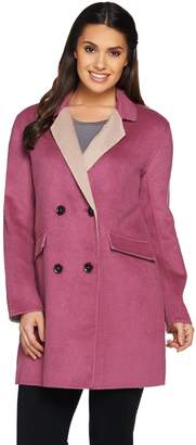 Logo By Lori Goldstein LOGO by Lori Goldstein Button Front Coat with Contrast Lapel