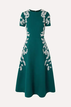Oscar de la Renta Embroidered Wool-blend Crepe Midi Dress - Emerald