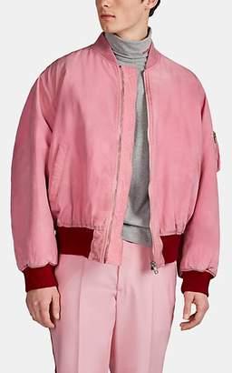 Calvin Klein Men's Logo Dirty Cotton Canvas Bomber Jacket - Pink