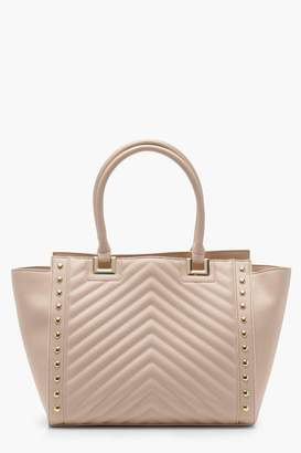 boohoo Ivy Quilt And Stud Tote