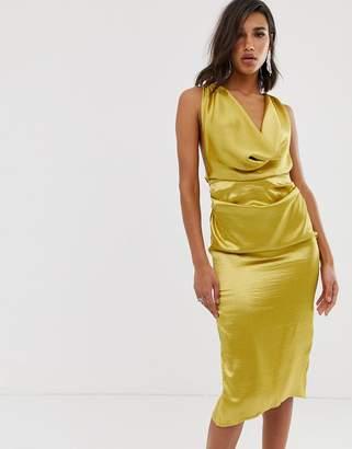 afeda52bf0068a Asos Design DESIGN midi dress with drape cowl neck in high shine satin
