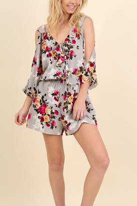 Umgee USA Grey Floral Romper