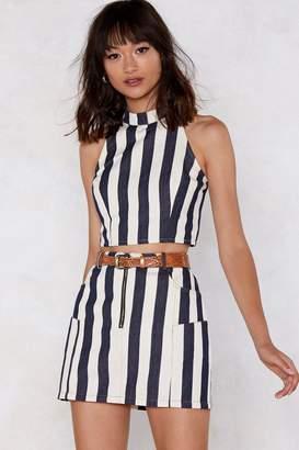 Nasty Gal Denim Rome Striped Crop Top and Mini Skirt Set