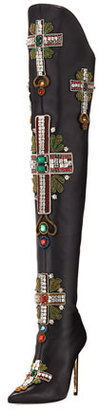 Over-The-Knee Embellished Cross Boot