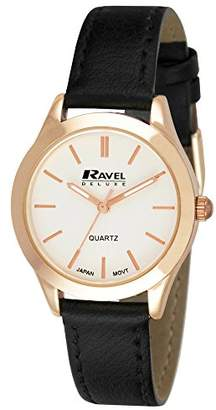 Ravel Deluxe Rose Gold Classic Women's Quartz Watch with Silver Dial Analogue Display and Black Leather Strap RD007.2GL