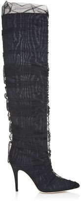 Jimmy Choo ELISABETH 100 Black Moire Knee High Boots with Ruched Tulle