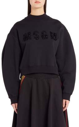 MSGM Sequin Logo Balloon Sleeve Crop Sweatshirt