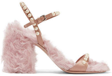 Miu Miu - Faux Pearl-embellished Silk And Faux Shearling Sandals - Pink