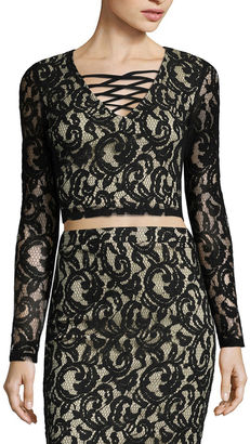 Fire Long Sleeve V Neck Lace Crop Top - Juniors $46 thestylecure.com