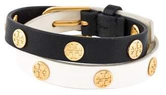 Tory Burch Two-Tone Logo Studded Leather Wrap Bracelet