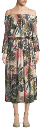 Fuzzi Jungle-Print Off-the-Shoulder Midi Dress
