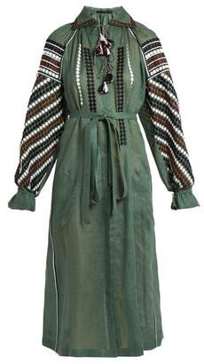Vita Kin - New Tisa Embroidered Lightweight Linen Dress - Womens - Green Multi
