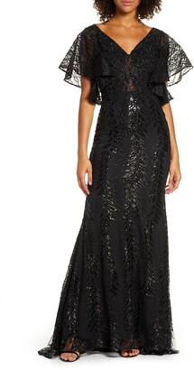 Mac Duggal Sequin Flutter Sleeve Evening Gown