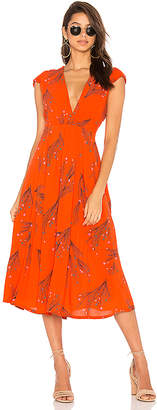 Free People Printed Retro Midi Dress in Red $148 thestylecure.com