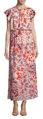 Adrianna Papell Floral Flutter-Sleeve Maxi Dress