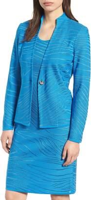 Ming Wang Jacquard Knit Long Sleeve Jacket