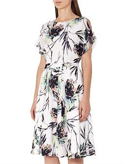 Reiss Naomi-Printed Cold Shoulder Dress