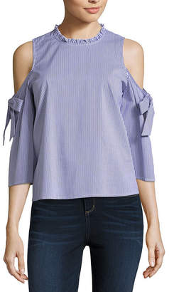 BELLE + SKY Cold Shoulder Tie Sleeve Top