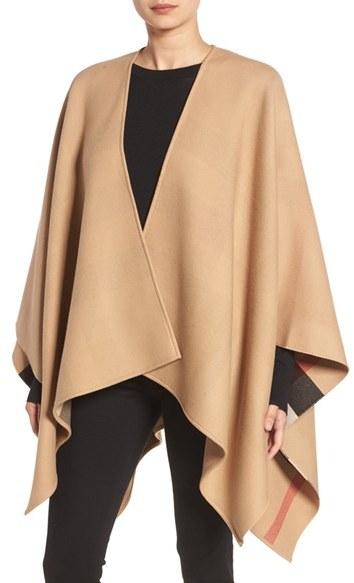 Women's Burberry Reversible Merino Wool Cape