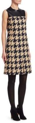 Akris Punto Houndstooth& Leather Shift Dress