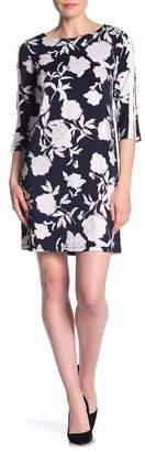 Sandra Darren Split Sleeve Floral Sheath Dress