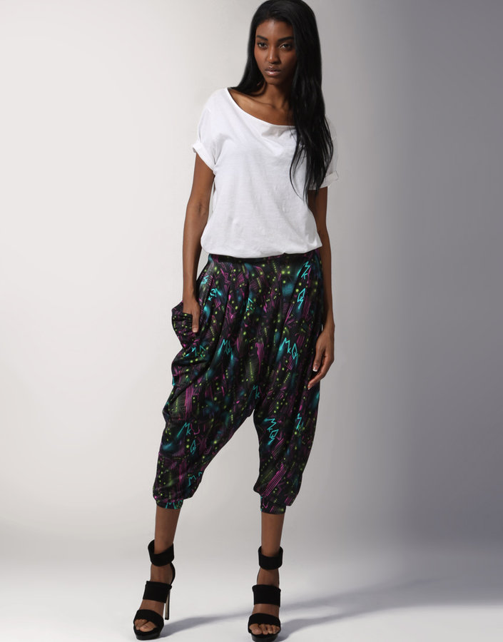 McQ By Alexander McQueen Tron Print Jersey Cropped Harem Pants