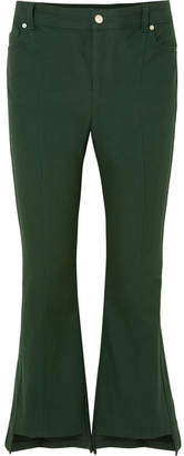 Alexander McQueen Cropped Cotton-canvas Flared Pants - Green
