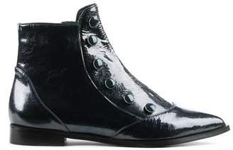 Brunate Phio Myo Eunice Navy Patent Leather Embellished Ankle Boot