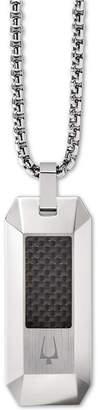"Bulova Men Carbon Fiber Dog Tag Pendant Necklace in Stainless Steel, 26"" + 2"" Extender"