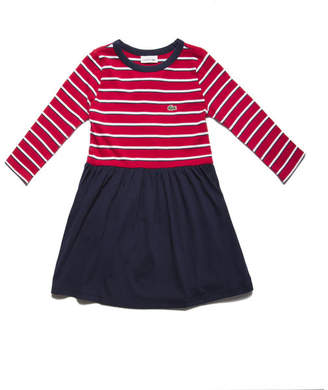 Lacoste Girls' Flared Striped Cotton Jersey Dress