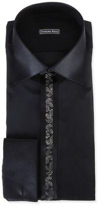 Stefano Ricci Crystal-Placket Silk Tuxedo Shirt $1,425 thestylecure.com