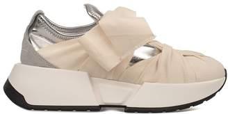 MM6 MAISON MARGIELA Ivory/silver Metallic Faux Leather Slip On Wedge Sneakers