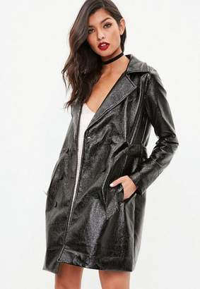 Missguided Tall Black High Shine Trench Coat