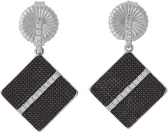 Freida Rothman Rhodium-Tone Square Drop Earrings