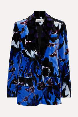 Diane von Furstenberg Tommy Floral-print Velvet Blazer - Blue