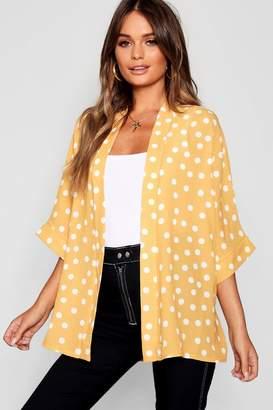 boohoo Polka Dot Crepe Kimono