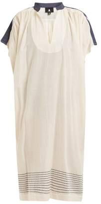 Su - Jana Mandarin Collar Cotton Blend Dress - Womens - Cream Multi