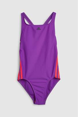 adidas Girls Purple/Pink 3 Stripe Swimsuit - Purple