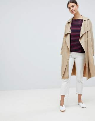 French Connection Erna Drape Wool Blend Short Trench Coat
