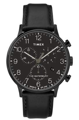 Timex R) Waterbury Chronograph Leather Strap Watch, 40mm