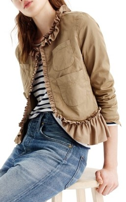 Women's J.crew Ruffle Chino Jacket $98 thestylecure.com