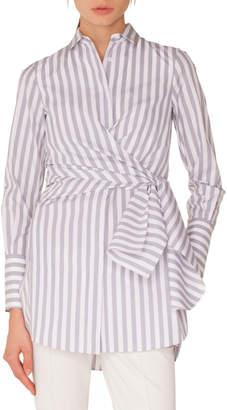 Akris Punto Long-Sleeve Button-Down Wrap-Waist Striped Tunic Blouse